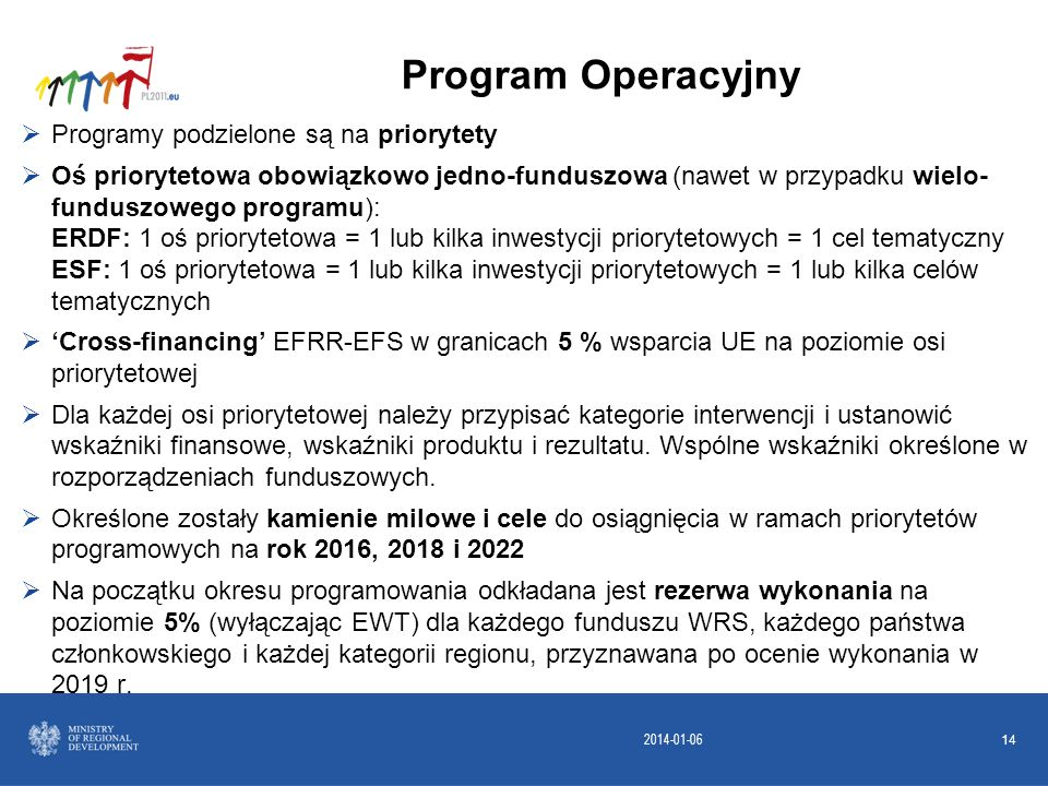 2014-01-06 14 Programy podzielone są na priorytety Oś priorytetowa obowiązkowo jedno-funduszowa (nawet w przypadku wielo- funduszowego programu): ERDF