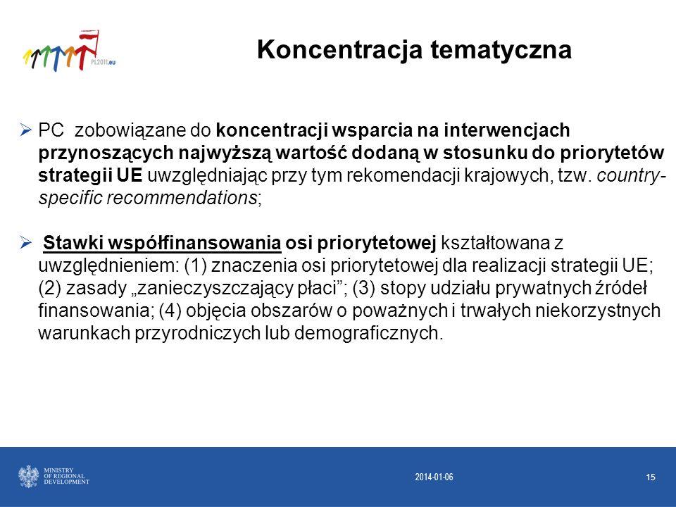 2014-01-06 15 PC zobowiązane do koncentracji wsparcia na interwencjach przynoszących najwyższą wartość dodaną w stosunku do priorytetów strategii UE u