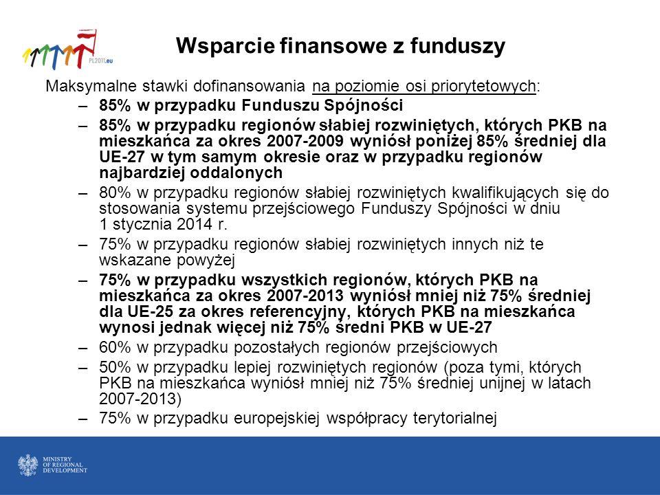 Wsparcie finansowe z funduszy Maksymalne stawki dofinansowania na poziomie osi priorytetowych: –85% w przypadku Funduszu Spójności –85% w przypadku re