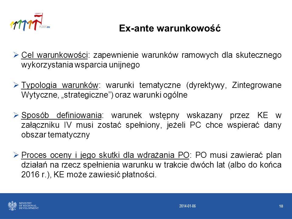 2014-01-06 18 Cel warunkowości: zapewnienie warunków ramowych dla skutecznego wykorzystania wsparcia unijnego Typologia warunków: warunki tematyczne (