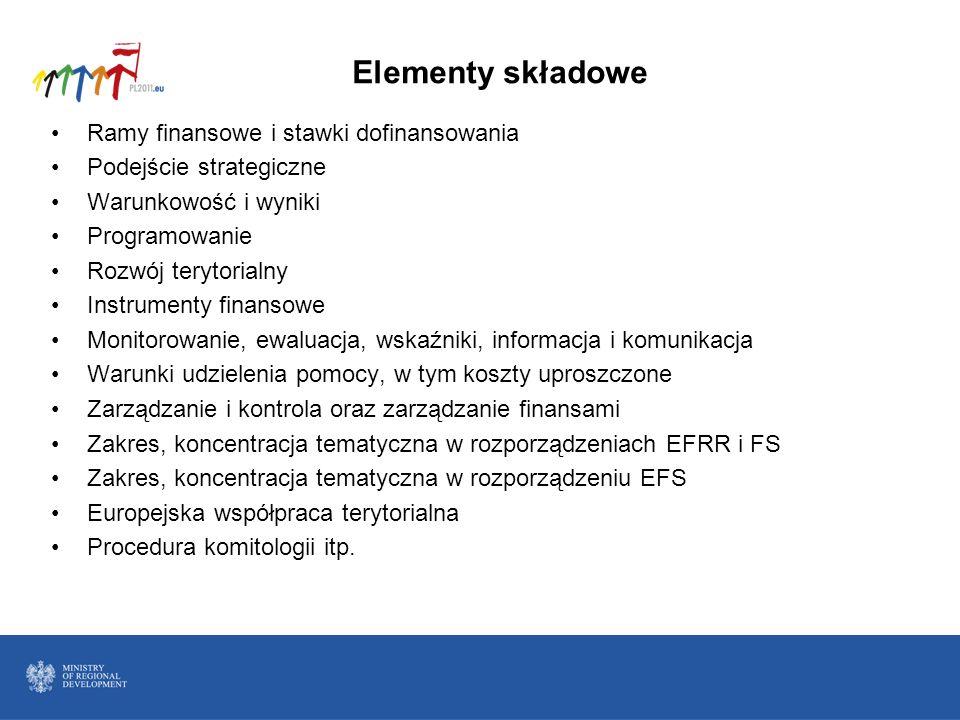 Elementy składowe Ramy finansowe i stawki dofinansowania Podejście strategiczne Warunkowość i wyniki Programowanie Rozwój terytorialny Instrumenty fin