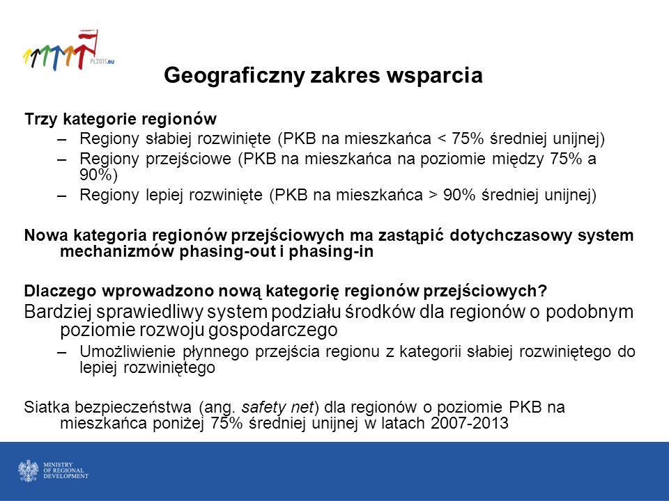 Geograficzny zakres wsparcia Trzy kategorie regionów –Regiony słabiej rozwinięte (PKB na mieszkańca < 75% średniej unijnej) –Regiony przejściowe (PKB