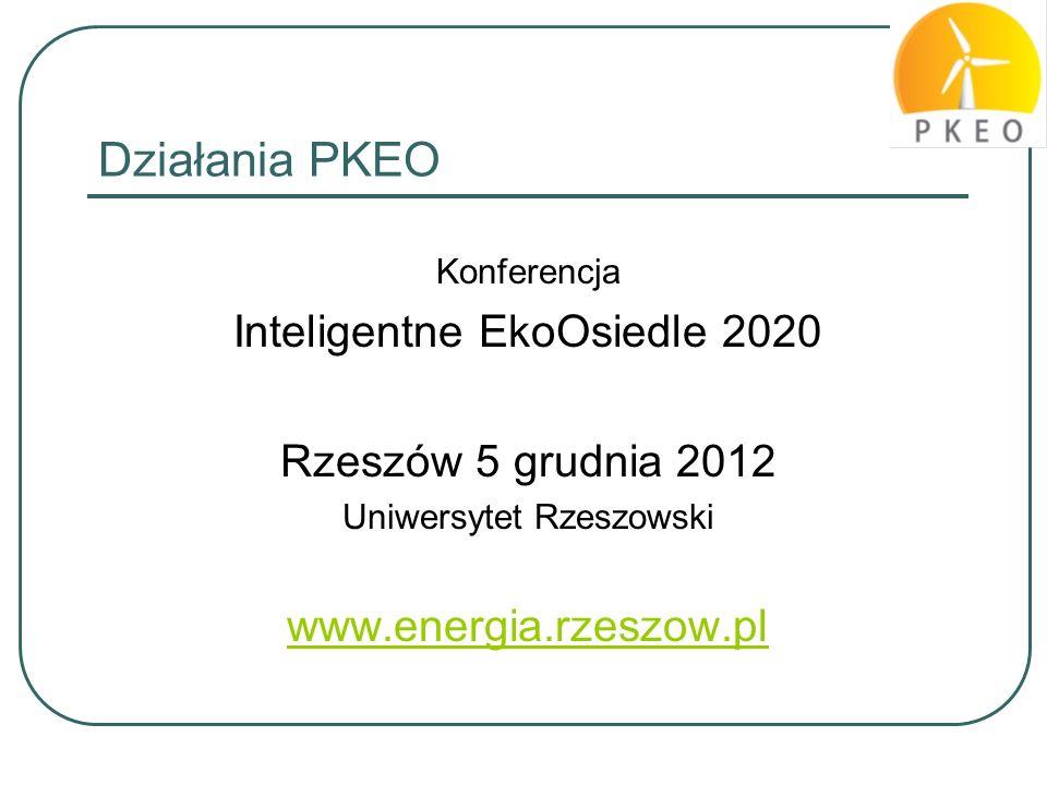 Działania PKEO Konferencja Inteligentne EkoOsiedle 2020 Rzeszów 5 grudnia 2012 Uniwersytet Rzeszowski www.energia.rzeszow.pl