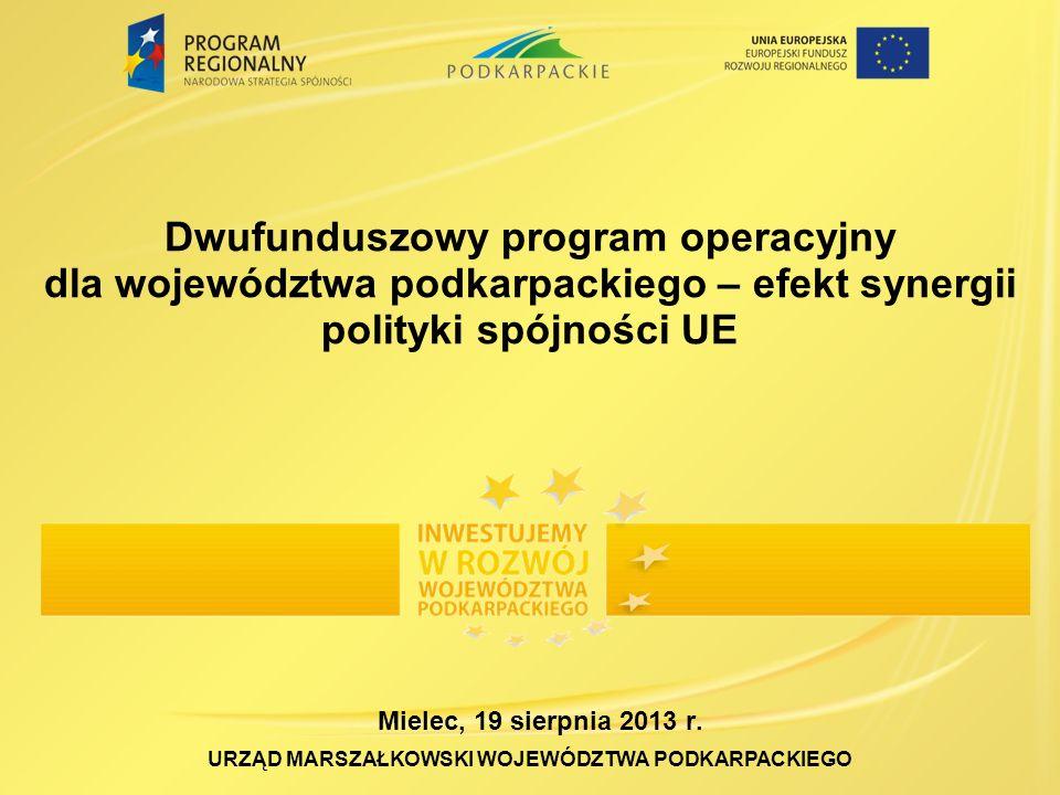 Dwufunduszowy program operacyjny dla województwa podkarpackiego – efekt synergii polityki spójności UE URZĄD MARSZAŁKOWSKI WOJEWÓDZTWA PODKARPACKIEGO