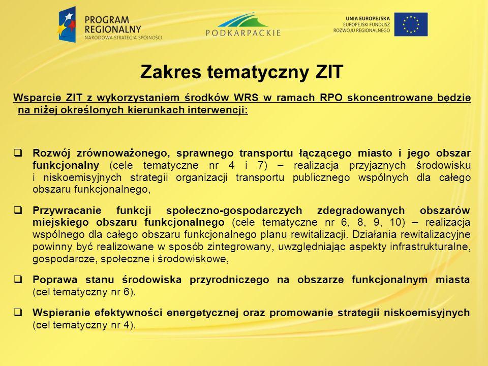 Zakres tematyczny ZIT Wsparcie ZIT z wykorzystaniem środków WRS w ramach RPO skoncentrowane będzie na niżej określonych kierunkach interwencji: Rozwój