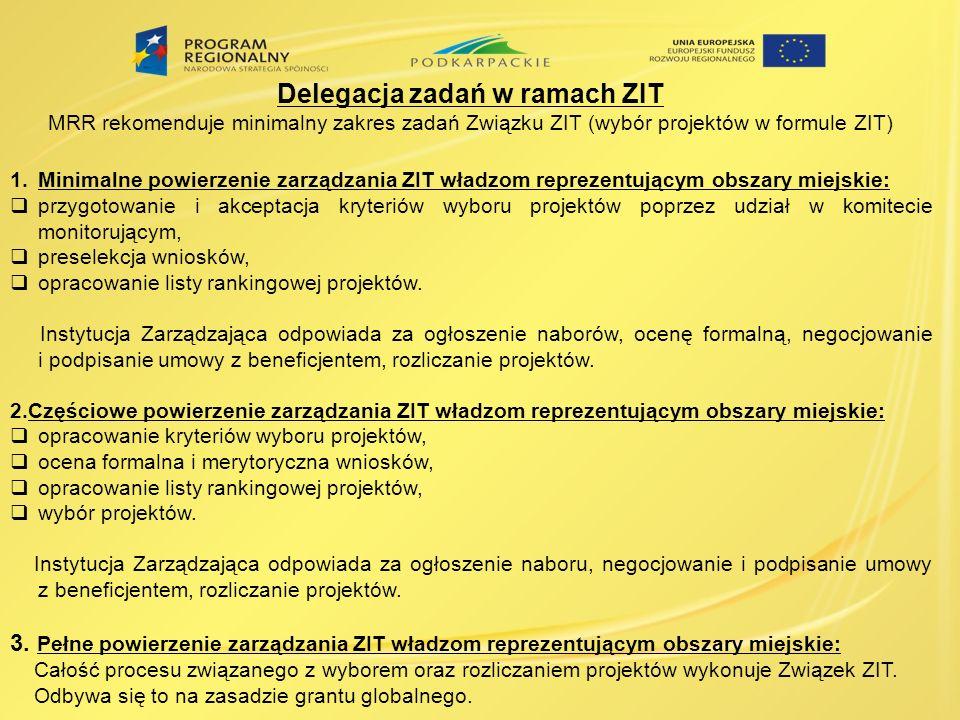 Delegacja zadań w ramach ZIT MRR rekomenduje minimalny zakres zadań Związku ZIT (wybór projektów w formule ZIT) 1.Minimalne powierzenie zarządzania ZI