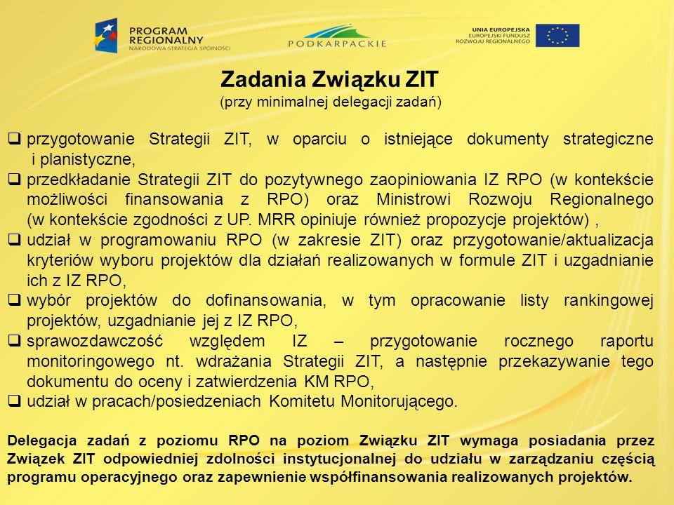 Zadania Związku ZIT (przy minimalnej delegacji zadań) przygotowanie Strategii ZIT, w oparciu o istniejące dokumenty strategiczne i planistyczne, przed