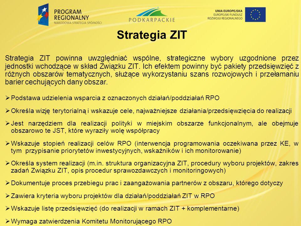 Strategia ZIT Strategia ZIT powinna uwzględniać wspólne, strategiczne wybory uzgodnione przez jednostki wchodzące w skład Związku ZIT. Ich efektem pow
