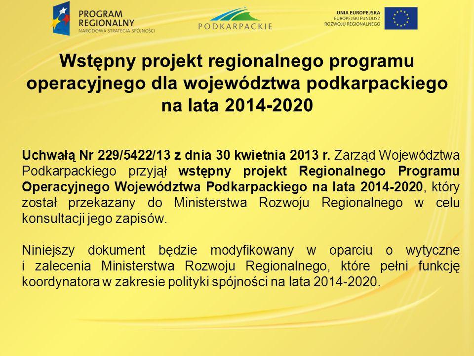 Wstępny projekt regionalnego programu operacyjnego dla województwa podkarpackiego na lata 2014-2020 Uchwałą Nr 229/5422/13 z dnia 30 kwietnia 2013 r.
