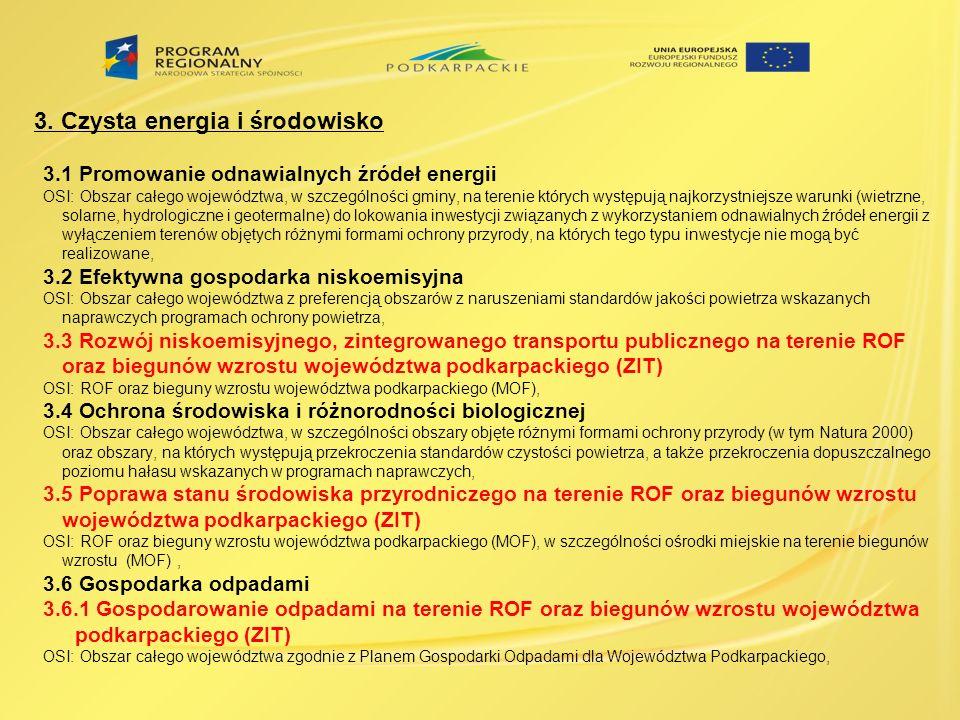 3. Czysta energia i środowisko 3.1 Promowanie odnawialnych źródeł energii OSI: Obszar całego województwa, w szczególności gminy, na terenie których wy