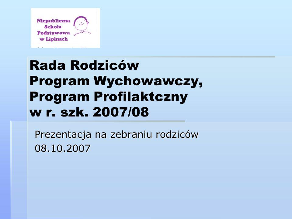 Rada Rodziców Program Wychowawczy, Program Profilaktczny w r. szk. 2007/08 Prezentacja na zebraniu rodziców 08.10.2007