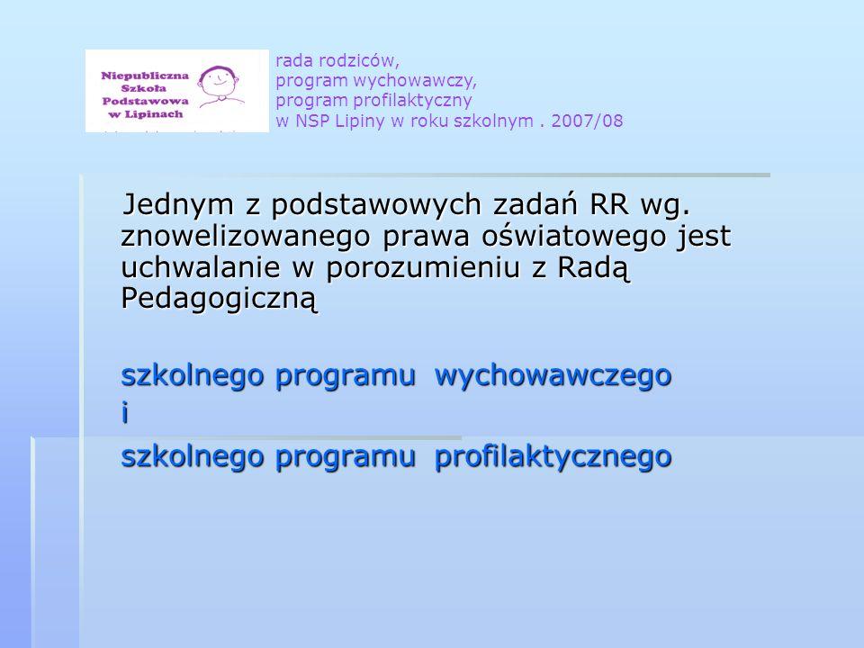 Jednym z podstawowych zadań RR wg. znowelizowanego prawa oświatowego jest uchwalanie w porozumieniu z Radą Pedagogiczną Jednym z podstawowych zadań RR