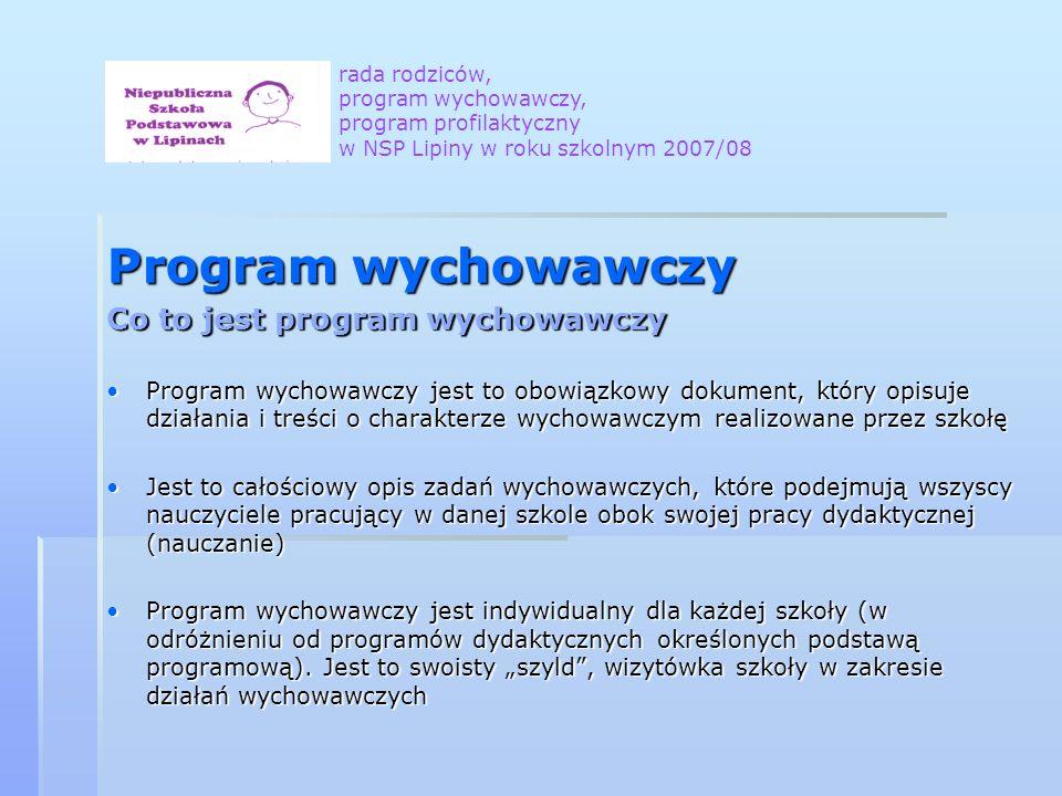 Program wychowawczy Co to jest program wychowawczy Program wychowawczy jest to obowiązkowy dokument, który opisuje działania i treści o charakterze wy