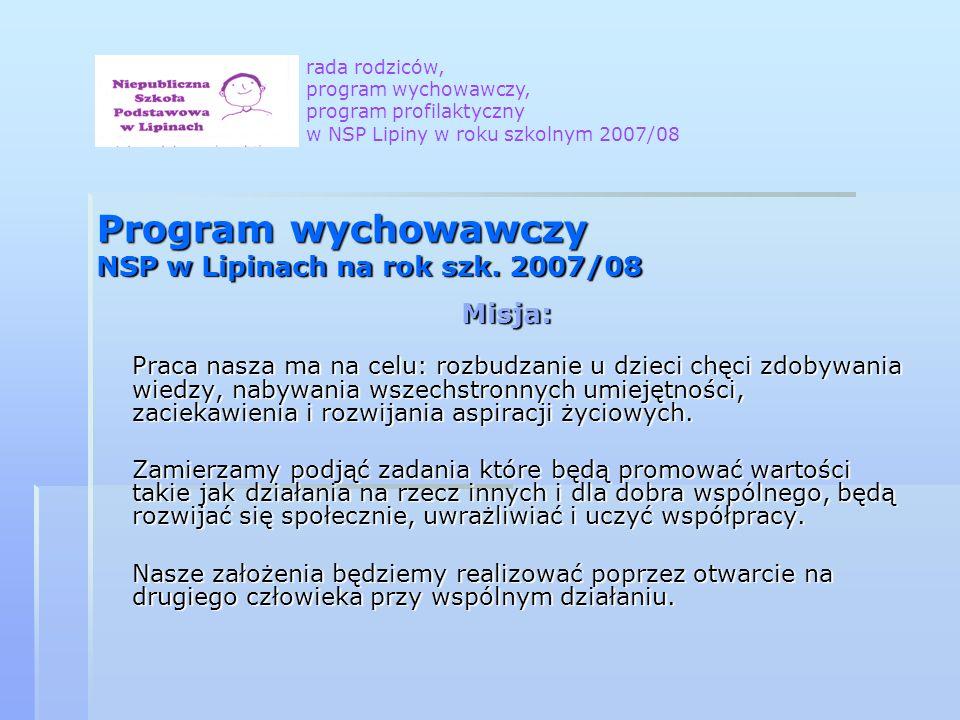 Program wychowawczy NSP w Lipinach na rok szk. 2007/08 Misja: Praca nasza ma na celu: rozbudzanie u dzieci chęci zdobywania wiedzy, nabywania wszechst