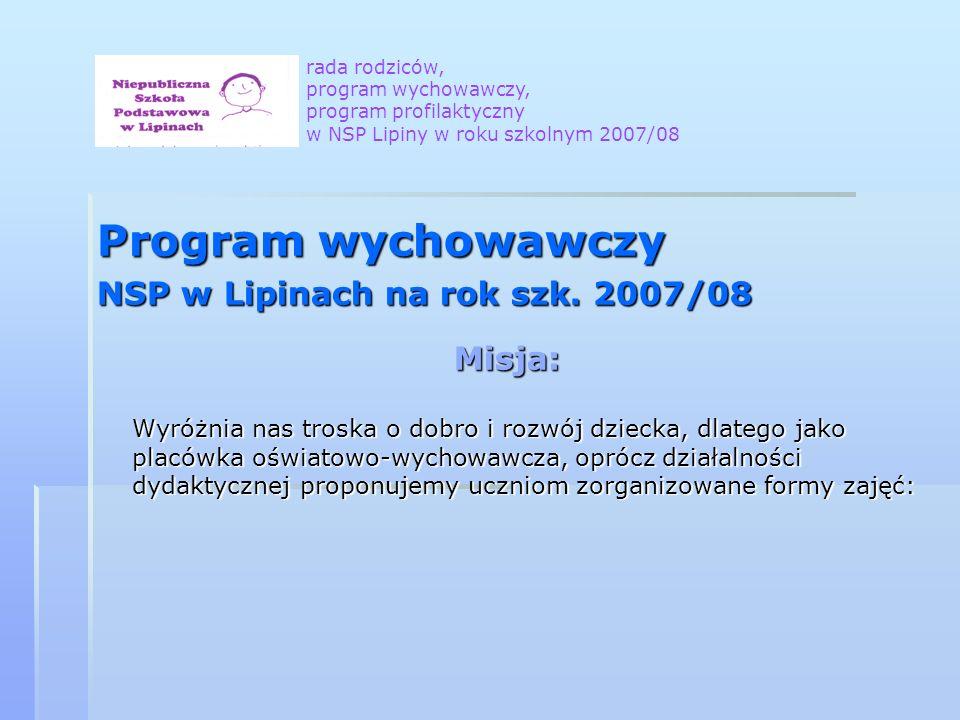 Program wychowawczy NSP w Lipinach na rok szk. 2007/08 Misja: Wyróżnia nas troska o dobro i rozwój dziecka, dlatego jako placówka oświatowo-wychowawcz