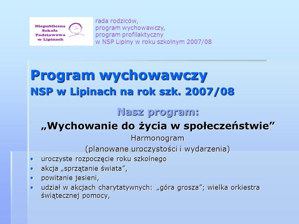 Program wychowawczy NSP w Lipinach na rok szk. 2007/08 Nasz program: Wychowanie do życia w społeczeństwie Harmonogram (planowane uroczystości i wydarz