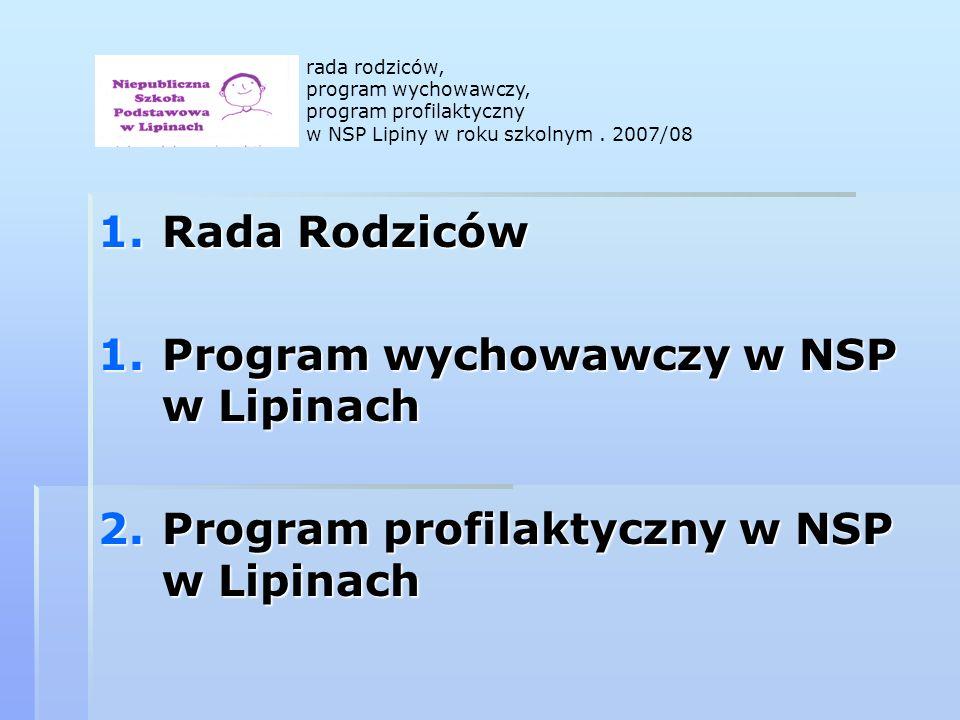 1.Rada Rodziców 1.Program wychowawczy w NSP w Lipinach 2.Program profilaktyczny w NSP w Lipinach rada rodziców, program wychowawczy, program profilaktyczny w NSP Lipiny w roku szkolnym.