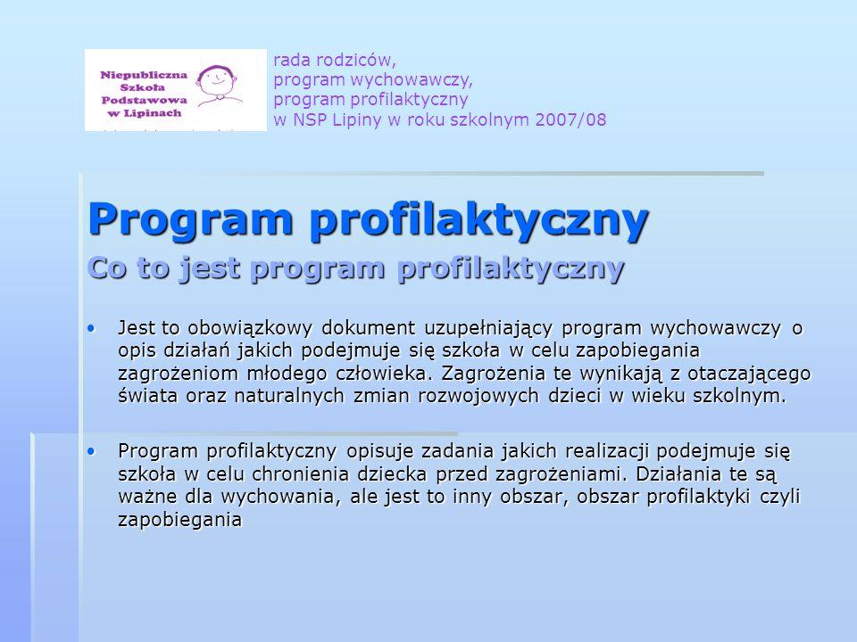 Program profilaktyczny Co to jest program profilaktyczny Jest to obowiązkowy dokument uzupełniający program wychowawczy o opis działań jakich podejmuje się szkoła w celu zapobiegania zagrożeniom młodego człowieka.