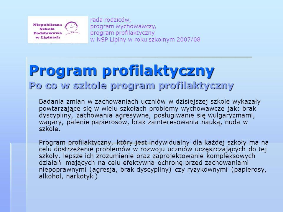 Program profilaktyczny Po co w szkole program profilaktyczny Badania zmian w zachowaniach uczniów w dzisiejszej szkole wykazały powtarzające się w wie