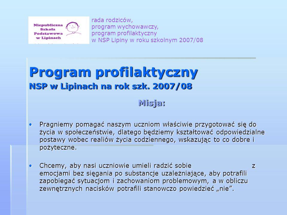 Program profilaktyczny NSP w Lipinach na rok szk. 2007/08 Misja: Pragniemy pomagać naszym uczniom właściwie przygotować się do życia w społeczeństwie,