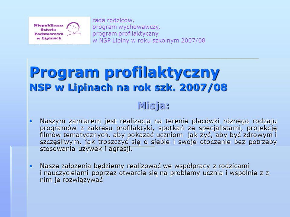 Program profilaktyczny NSP w Lipinach na rok szk. 2007/08 Misja: Naszym zamiarem jest realizacja na terenie placówki różnego rodzaju programów z zakre