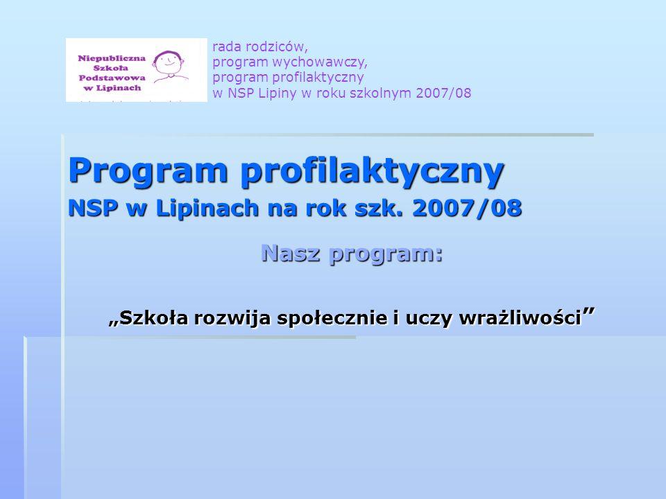 Program profilaktyczny NSP w Lipinach na rok szk. 2007/08 Nasz program: Szkoła rozwija społecznie i uczy wrażliwości Szkoła rozwija społecznie i uczy