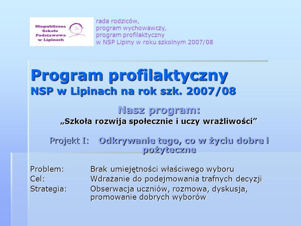 Program profilaktyczny NSP w Lipinach na rok szk. 2007/08 Nasz program: Szkoła rozwija społecznie i uczy wrażliwości Projekt I: Odkrywanie tego, co w