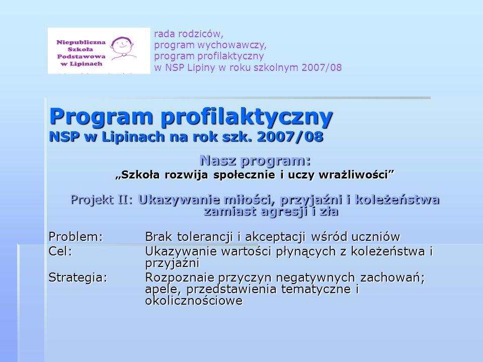 Program profilaktyczny NSP w Lipinach na rok szk. 2007/08 Nasz program: Szkoła rozwija społecznie i uczy wrażliwości Projekt II: Ukazywanie miłości, p