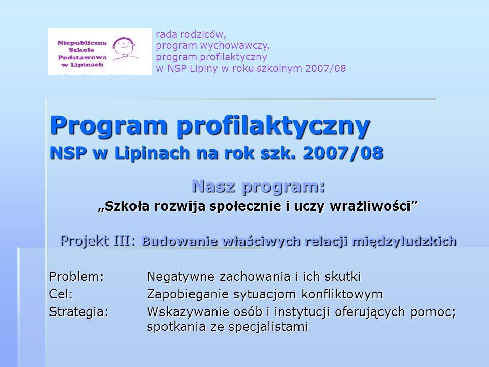 Program profilaktyczny NSP w Lipinach na rok szk. 2007/08 Nasz program: Szkoła rozwija społecznie i uczy wrażliwości Projekt III: Budowanie właściwych