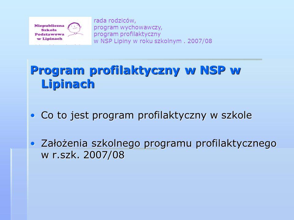Program profilaktyczny w NSP w Lipinach Co to jest program profilaktyczny w szkoleCo to jest program profilaktyczny w szkole Założenia szkolnego programu profilaktycznego w r.szk.