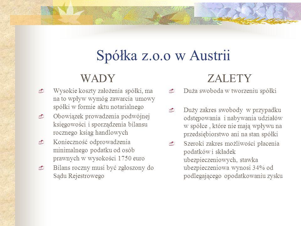 Spółka z.o.o w Austrii WADY Wysokie koszty założenia spółki, ma na to wpływ wymóg zawarcia umowy spółki w formie aktu notarialnego Obowiązek prowadzen