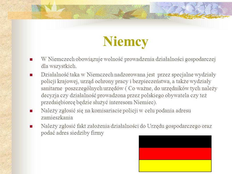 Niemcy W Niemczech obowiązuje wolność prowadzenia działalności gospodarczej dla wszystkich. Działalność taka w Niemczech nadzorowana jest przez specja