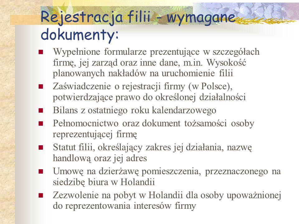 Rejestracja filii - wymagane dokumenty: Wypełnione formularze prezentujące w szczegółach firmę, jej zarząd oraz inne dane, m.in. Wysokość planowanych