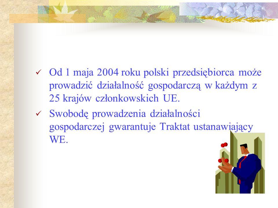 Od 1 maja 2004 roku polski przedsiębiorca może prowadzić działalność gospodarczą w każdym z 25 krajów członkowskich UE. Swobodę prowadzenia działalnoś