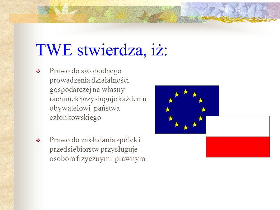 TWE stwierdza, iż: Prawo do swobodnego prowadzenia działalności gospodarczej na własny rachunek przysługuje każdemu obywatelowi państwa członkowskiego