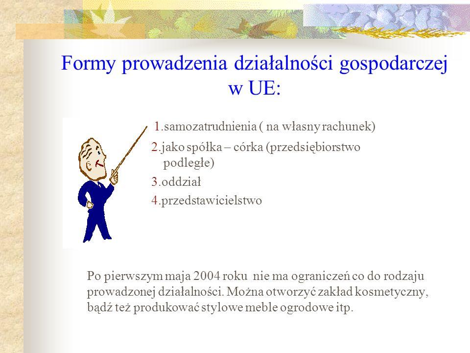 Formy prowadzenia działalności gospodarczej w UE: 1.samozatrudnienia ( na własny rachunek) 2.jako spółka – córka (przedsiębiorstwo podległe) 3.oddział