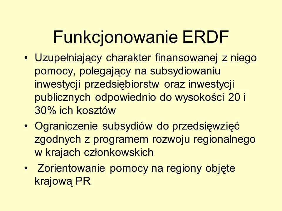 Funkcjonowanie ERDF Uzupełniający charakter finansowanej z niego pomocy, polegający na subsydiowaniu inwestycji przedsiębiorstw oraz inwestycji public