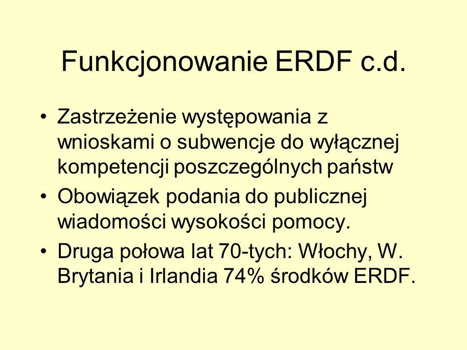 Funkcjonowanie ERDF c.d. Zastrzeżenie występowania z wnioskami o subwencje do wyłącznej kompetencji poszczególnych państw Obowiązek podania do publicz