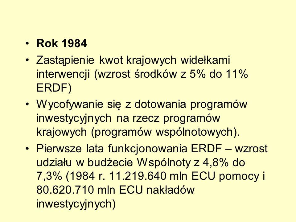 Rok 1984 Zastąpienie kwot krajowych widełkami interwencji (wzrost środków z 5% do 11% ERDF) Wycofywanie się z dotowania programów inwestycyjnych na rz