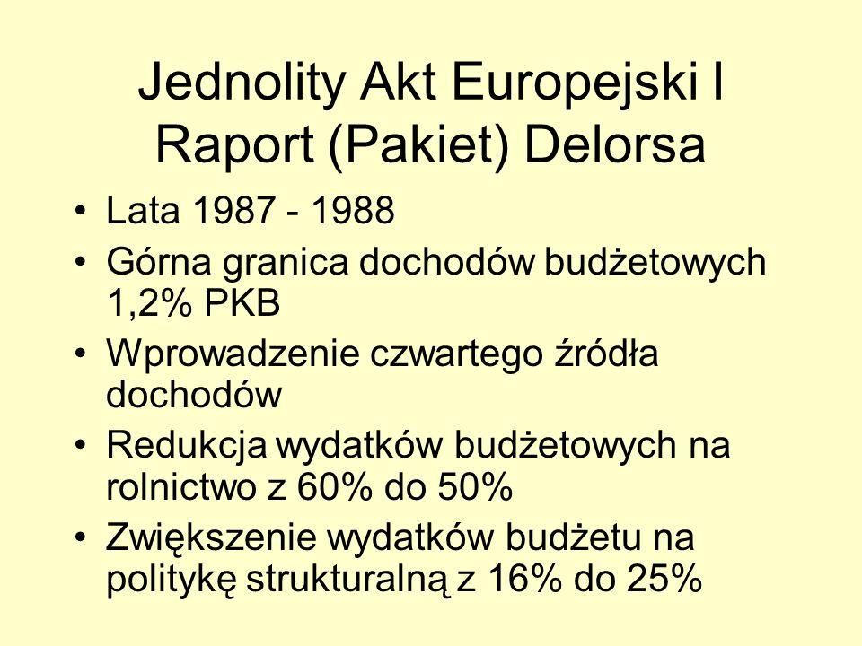 Jednolity Akt Europejski I Raport (Pakiet) Delorsa Lata 1987 - 1988 Górna granica dochodów budżetowych 1,2% PKB Wprowadzenie czwartego źródła dochodów