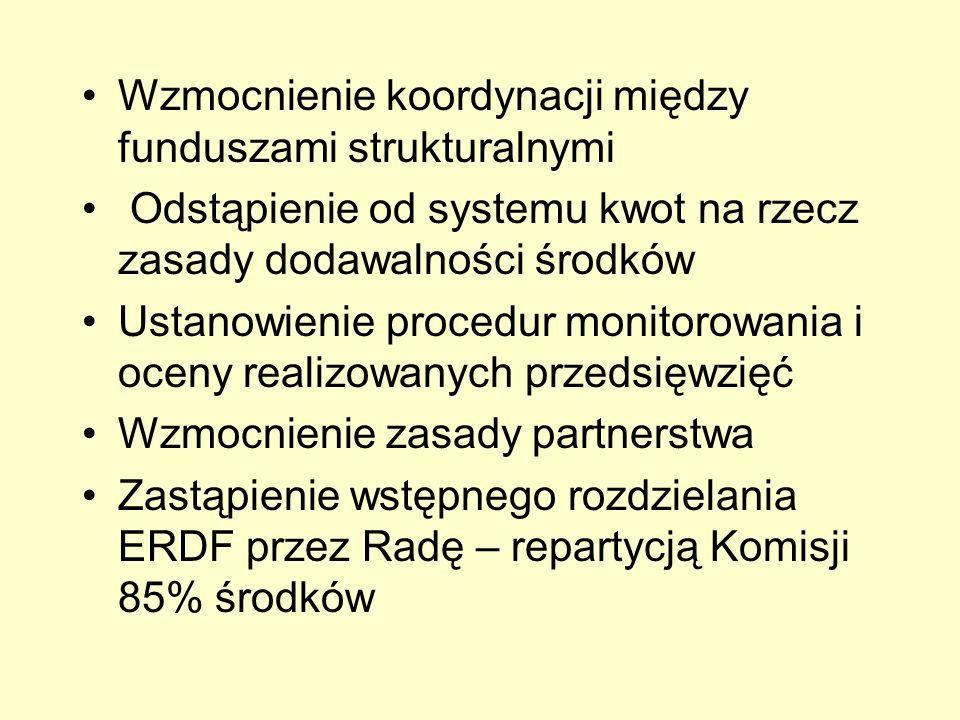 Wzmocnienie koordynacji między funduszami strukturalnymi Odstąpienie od systemu kwot na rzecz zasady dodawalności środków Ustanowienie procedur monito