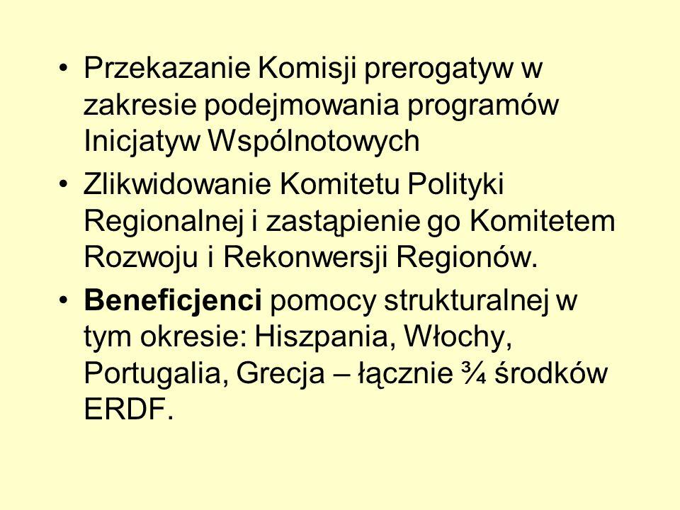 Przekazanie Komisji prerogatyw w zakresie podejmowania programów Inicjatyw Wspólnotowych Zlikwidowanie Komitetu Polityki Regionalnej i zastąpienie go