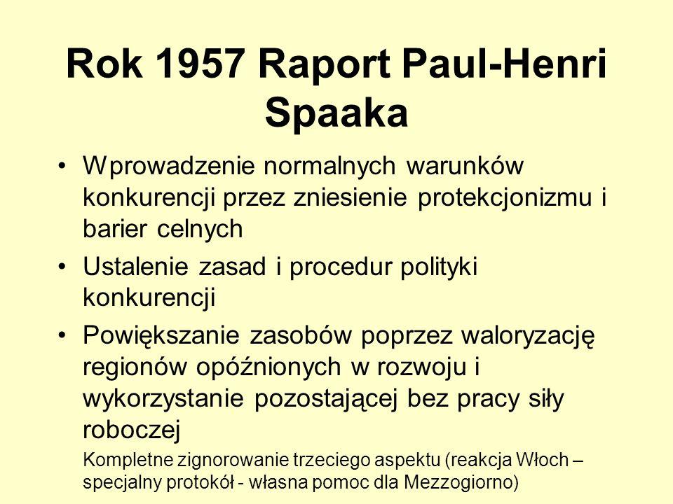 Rok 1957 Raport Paul-Henri Spaaka Wprowadzenie normalnych warunków konkurencji przez zniesienie protekcjonizmu i barier celnych Ustalenie zasad i proc