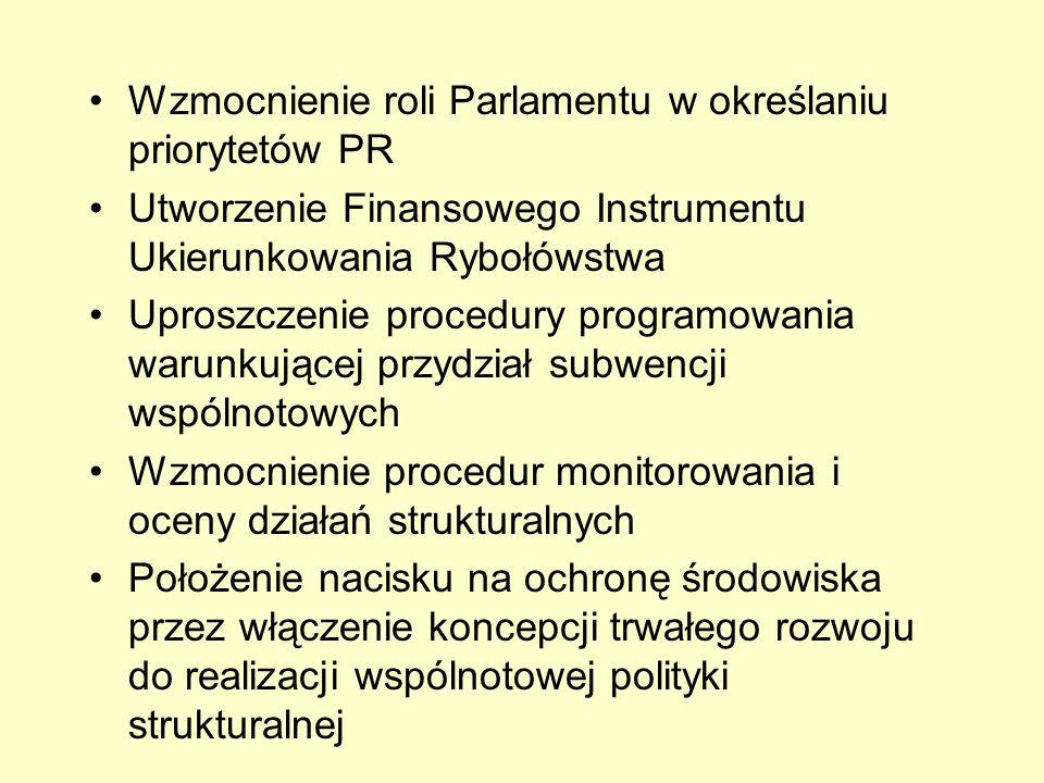 Wzmocnienie roli Parlamentu w określaniu priorytetów PR Utworzenie Finansowego Instrumentu Ukierunkowania Rybołówstwa Uproszczenie procedury programow