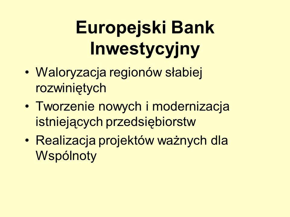 Europejski Bank Inwestycyjny Waloryzacja regionów słabiej rozwiniętych Tworzenie nowych i modernizacja istniejących przedsiębiorstw Realizacja projekt