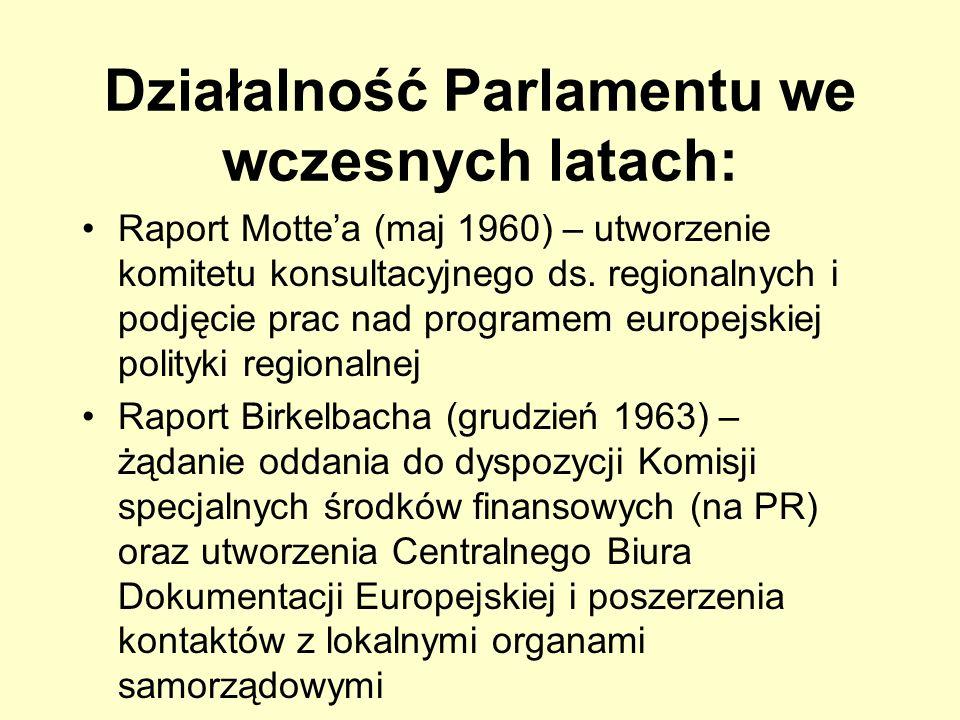 Działalność Parlamentu we wczesnych latach: Raport Mottea (maj 1960) – utworzenie komitetu konsultacyjnego ds. regionalnych i podjęcie prac nad progra