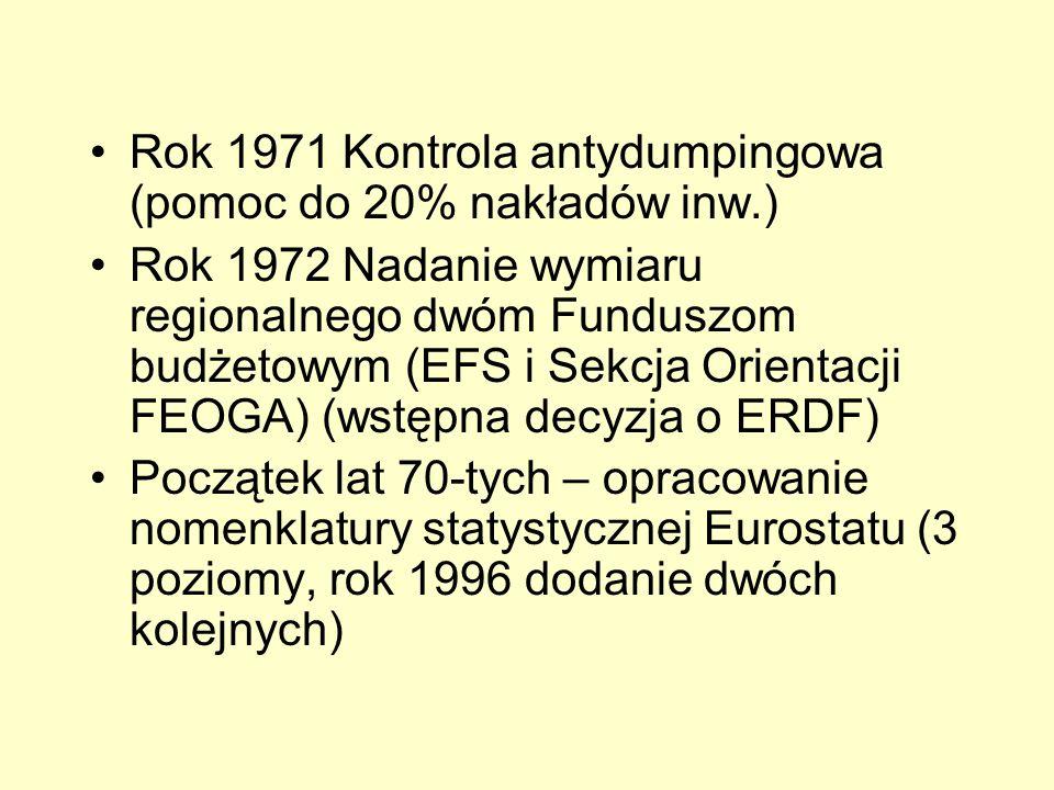 Rok 1971 Kontrola antydumpingowa (pomoc do 20% nakładów inw.) Rok 1972 Nadanie wymiaru regionalnego dwóm Funduszom budżetowym (EFS i Sekcja Orientacji