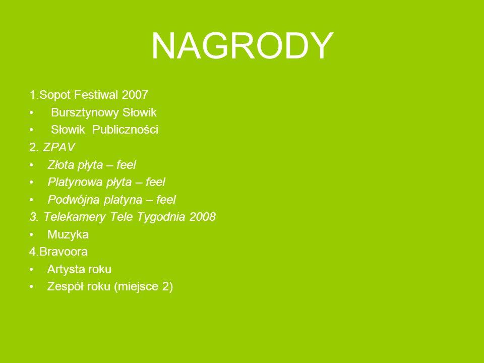 NAGRODY 1.Sopot Festiwal 2007 Bursztynowy Słowik Słowik Publiczności 2. ZPAV Złota płyta – feel Platynowa płyta – feel Podwójna platyna – feel 3. Tele