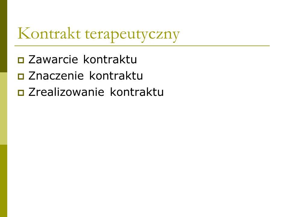 Kontrakt terapeutyczny Zawarcie kontraktu Znaczenie kontraktu Zrealizowanie kontraktu