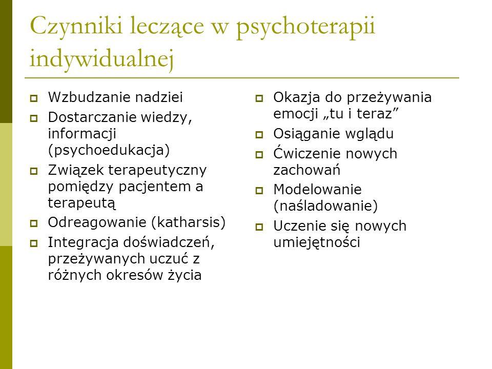 Relacje terapeutyczna Nawiązanie kontaktu (Trzebińska 1994): Aspekt emocjonalny- poczucie bezpieczeństwa, akceptacji bezwarunkowej, szacunku Aspekt poznawczy – podanie podstawowych informacji na temat stosowanej metody terapii Aspekt społeczny – znaczenie płci, wieku, przynależność do określonego środowiska, stereotypy społeczne Podobieństwa i różnice pomiędzy terapeutą i pacjentem